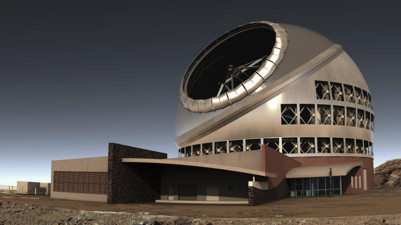 FILE - This undated file illustration provided by Thirty Meter Telescope (TMT) shows the proposed giant telescope on Mauna Kea on Hawaii's Big Island. Construction on giant telescope to start again in the third week of July 2019, after court battles over Hawaii site that some consider sacred. (TMT via AP, File)