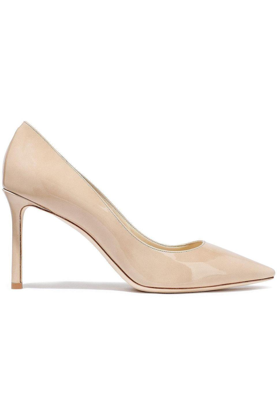 """<p><strong>JIMMY CHOO</strong></p><p>theoutnet.com</p><p><strong>$396.00</strong></p><p><a href=""""https://go.redirectingat.com?id=74968X1596630&url=https%3A%2F%2Fwww.theoutnet.com%2Fen-us%2Fshop%2Fproduct%2Fjimmy-choo%2Fpumps%2Fhigh-heel-pumps%2Fromy-85-patent-leather-pumps%2F666467151602264&sref=https%3A%2F%2Fwww.harpersbazaar.com%2Ffashion%2Ftrends%2Fg34788766%2Fthe-outnets-black-friday-sale-2020%2F"""" rel=""""nofollow noopener"""" target=""""_blank"""" data-ylk=""""slk:Shop Now"""" class=""""link rapid-noclick-resp"""">Shop Now</a></p><p>A pair of nude pumps belongs in everyone's closet. </p>"""
