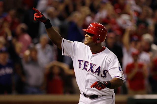 ARLINGTON, TX - OCTOBER 24: Adrian Beltre #29 of the Texas Rangers celebrates after hitting a solo home run in the sixth inning during Game Five of the MLB World Series against the St. Louis Cardinals at Rangers Ballpark in Arlington on October 24, 2011 in Arlington, Texas. (Photo by Rob Carr/Getty Images)