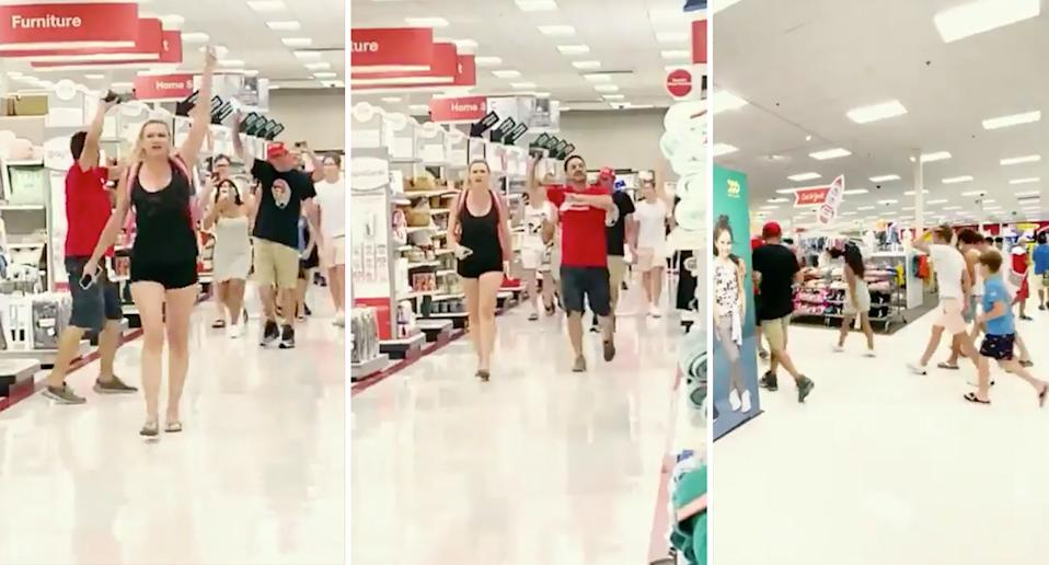 Anti-maskers stormed a Target store,  seen here in aisles.