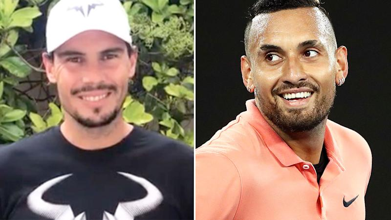 Pictured here, tennis rivals Rafael Nadal and Nick Kyrgios.