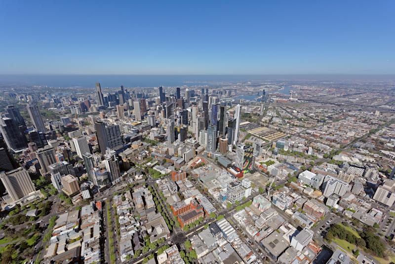Aerial view from Carlton, looking south-west to Melbourne CBD. (Source: Getty)
