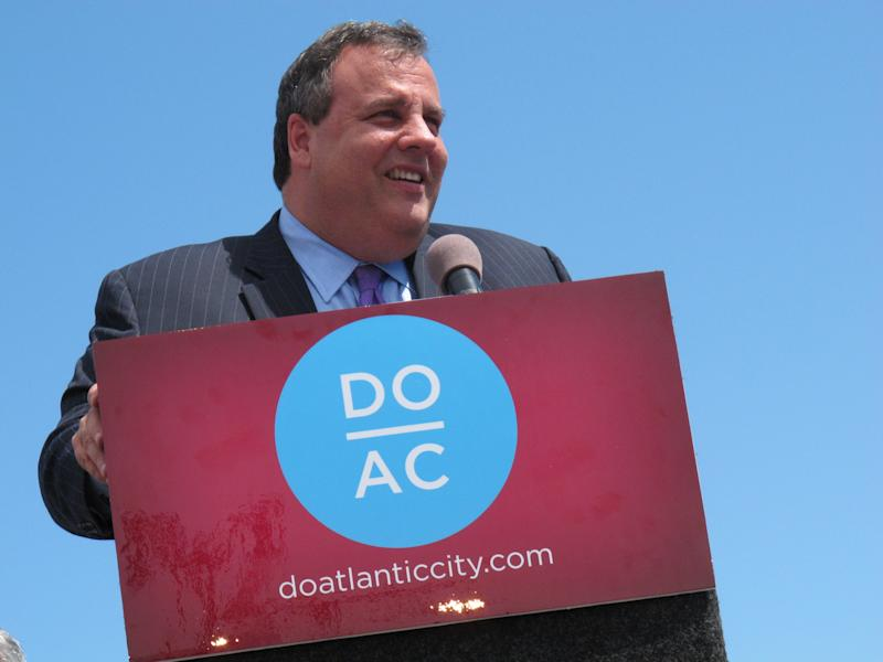 "New Jersey Gov. Chris Christie speaks on the Boardwalk in Atlantic City N.J. on May 24, 2012 to promote the resort's ""Do AC"" tourism campaign. That campaign has developed into ""Do Change"" to highlight things to do in Atlantic City in the fall. (AP Photo/Wayne Parry)"