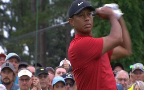 <span>Tiger Woods on the first tee</span> <span>Credit: BBC </span>