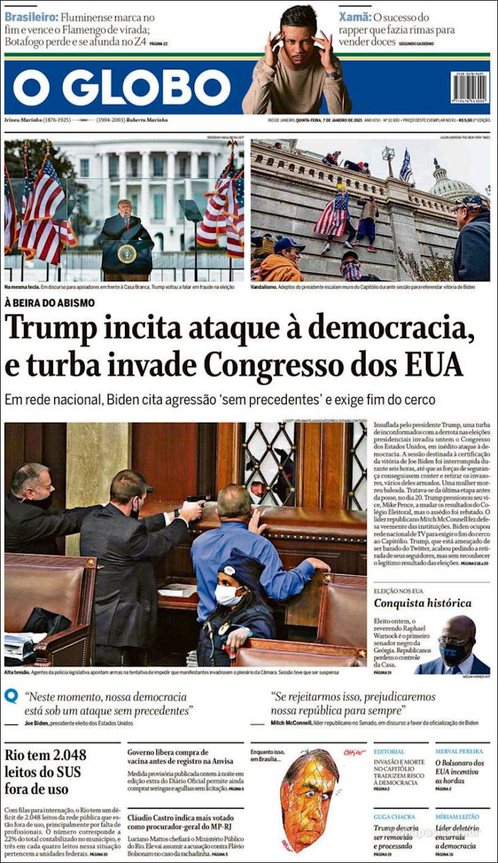 Front page of Brazil's O Globo on Thursday