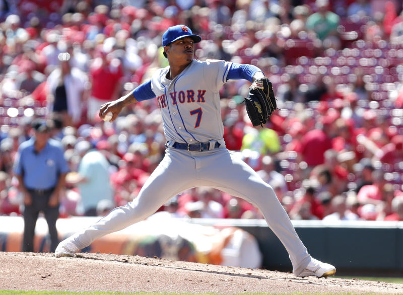 Sep 22, 2019; Cincinnati, OH, USA; New York Mets starting pitcher Marcus Stroman (7) throws against the Cincinnati Reds during the first inning at Great American Ball Park. Mandatory Credit: David Kohl-USA TODAY Sports