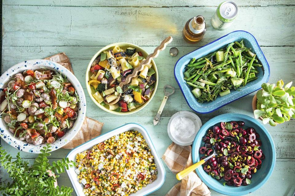 """<p>This is <em>not</em> grandma's pasta salad. But maybe it should have been!</p><p><strong><a href=""""https://www.countryliving.com/food-drinks/a36320314/grilled-ratatouille-pasta-salad-recipe/"""" rel=""""nofollow noopener"""" target=""""_blank"""" data-ylk=""""slk:Get the recipe"""" class=""""link rapid-noclick-resp"""">Get the recipe</a>.</strong></p>"""