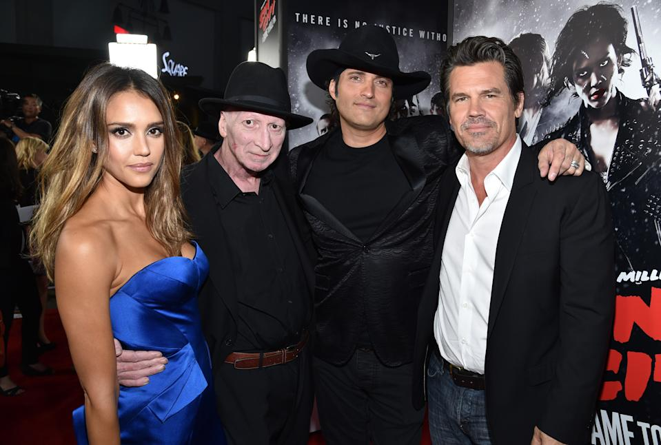 """IMAGE DISTRIBUTED FOR THE WEINSTEIN COMPANY - From left, Jessica Alba, writer/director Frank Miller, director Robert Rodriguez, and Josh Brolin arrive at the """"Sin City: A Dame to Kill For"""" premiere presented by Dimension Films in partnership with Time Warner Cable, Dodge and DeLeon Tequila at TCL Chinese Theatre on Tuesday, Aug. 19, 2014, in Los Angeles. (Photo by John Shearer/Invision for The Weinstein Company/AP Images)"""