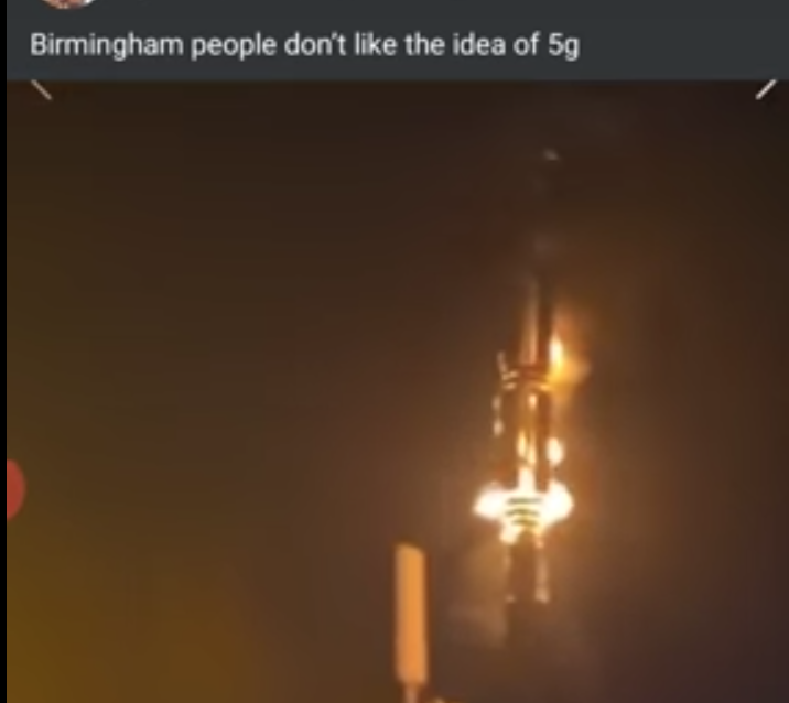 Screengrab of the video showing an apparent arson attack on a EE 5G mast in Birmingham, UK.