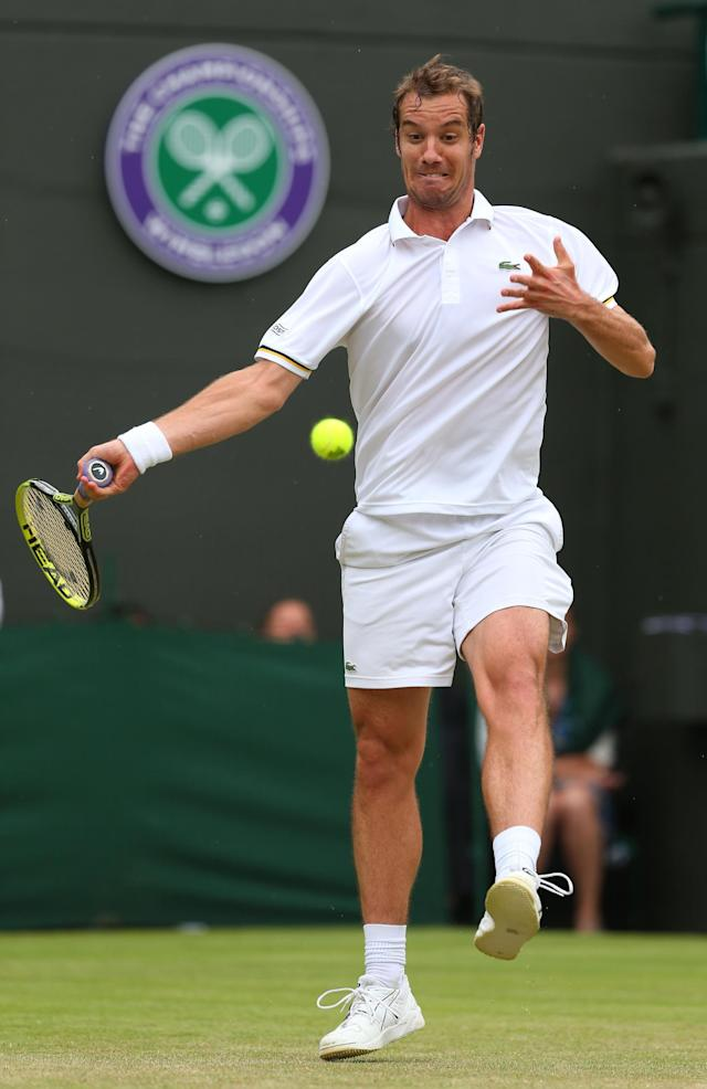 LONDON, ENGLAND - JUNE 27: Richard Gasquet of France plays a forehand during his Gentlemen's Singles second round match against Go Soeda of Japan on day four of the Wimbledon Lawn Tennis Championships at the All England Lawn Tennis and Croquet Club on June 27, 2013 in London, England. (Photo by Julian Finney/Getty Images)