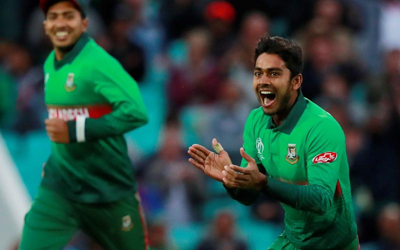 Bangladesh's Mehidy Hasan celebrates taking the wicket of New Zealand's Tom Latham - Action Images via Reuters
