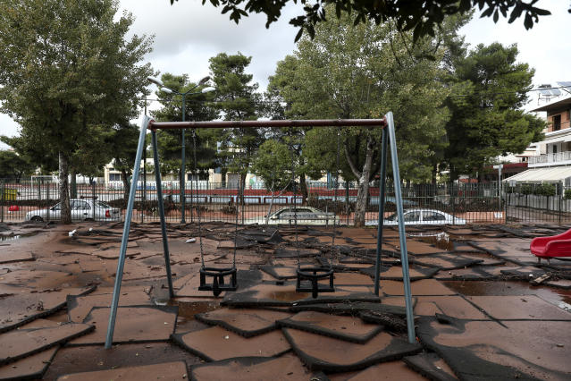 <p>A playground after it was hit by a flood earlier this week at Mandra town, west of Athens, on Saturday, Nov. 18, 2017. (Photo: Yorgos Karahalis/AP) </p>