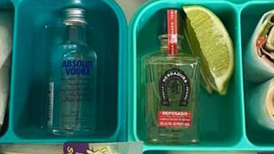 Image of small tequila vodka bottles lunchbox gag