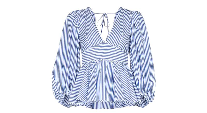 Staud V-neck striped cotton blouse
