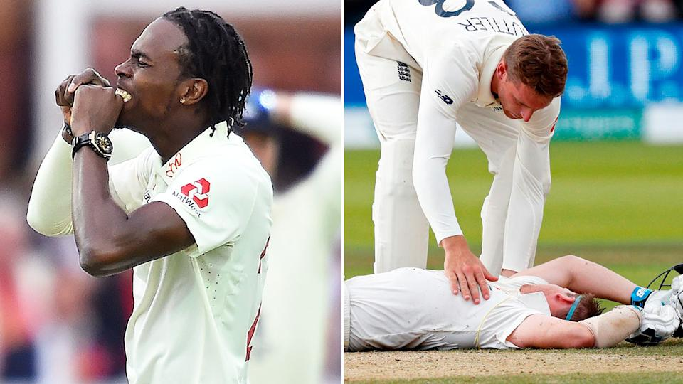 Pictured here, Jofra Archer and the Steve Smith concussion scare at Lord's in 2019.