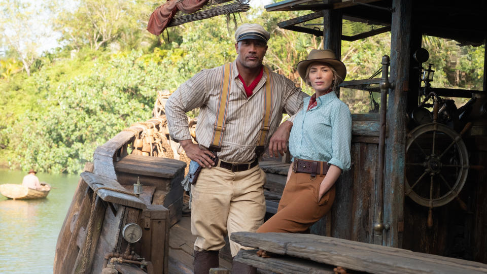 Dwayne Johnson and Emily Blunt have joined forces for this delayed blockbuster based on a theme park ride. Johnson plays the riverboat captain who takes Blunt and her brother (Jack Whitehall) into a dense jungle on a hunt for the mythical Tree of Life. Jaume Collet-Serra — veteran of several Liam Neeson actioners — is in the director's chair. (Credit: Disney)