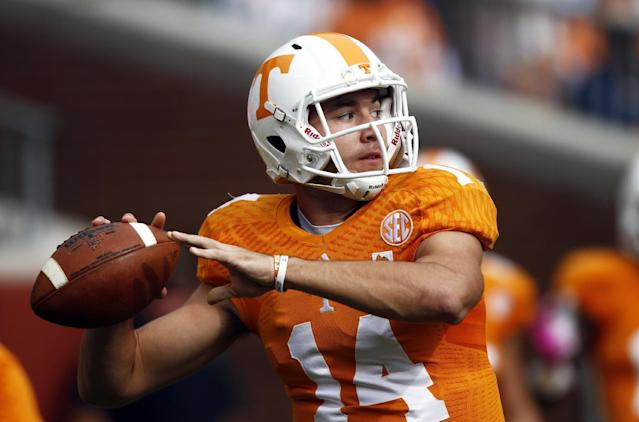 Tennessee quarterback Justin Worley throws during warm-ups before an NCAA college football game against the South Carolina on Saturday, Oct. 19, 2013 in Knoxville, Tenn. (AP Photo/Wade Payne)