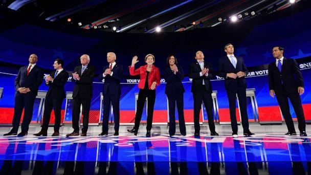 PHOTO: Democratic presidential hopefuls stand onstage ahead of the third Democratic primary debate of the 2020 presidential campaign season hosted by ABC News in partnership with Univision at Texas Southern University in Houston, Tx on Sept. 12, 2019. (Frederic J. Brown/AFP via Getty Images, FILE)