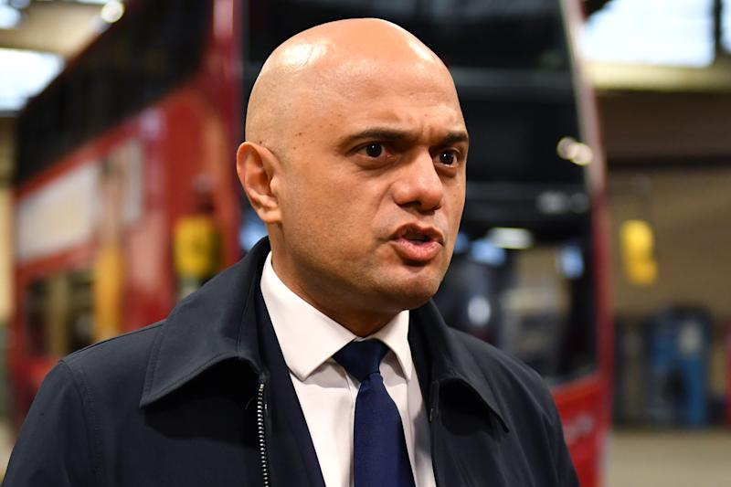 Chancellor of the Exchequer Sajid Javid during a visit to Birmingham Central Bus Garage.