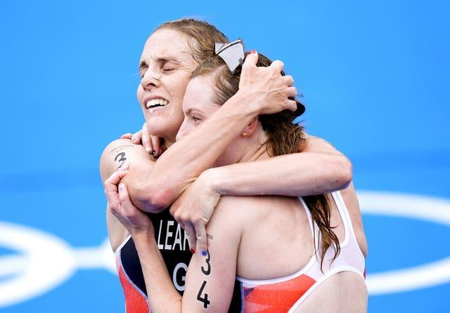 Great Britain's Georgia Taylor-Brown (right) is congratulated by Great Britain's Jessica Learmonth (Danny Lawson/PA)