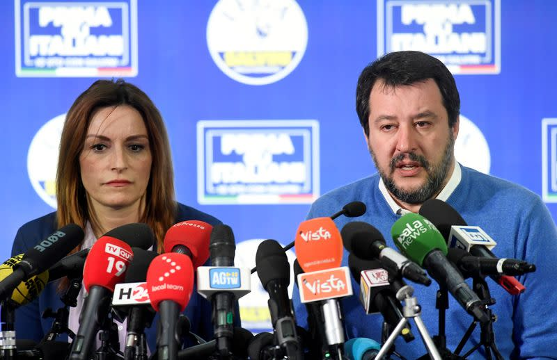 Leader of Italy's far-right League party Matteo Salvini attends a news conference after regional election in Emilia-Romagna and Calabria, in Bologna