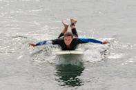 <p>Leighton Meester was spotted paddling during her surf session in Malibu, California.</p>