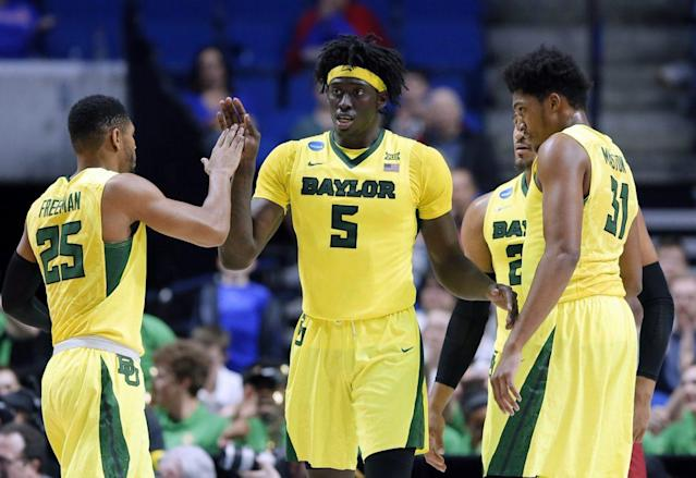 "Baylor's <a class=""link rapid-noclick-resp"" href=""/ncaab/players/120769/"" data-ylk=""slk:Johnathan Motley"">Johnathan Motley</a> went undrafted Thursday despite an All-American caliber junior season. (AP)"