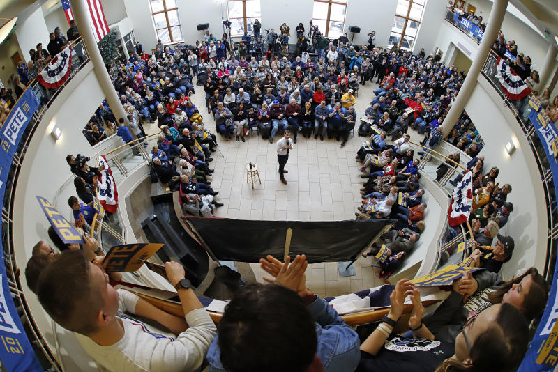 Democratic presidential candidate former South Bend, Ind., Mayor Pete Buttigieg, speaks during a town hall meeting at the University of Dubuque in Dubuque, Iowa, Wednesday, Jan. 22, 2020. (AP Photo/Gene J. Puskar)