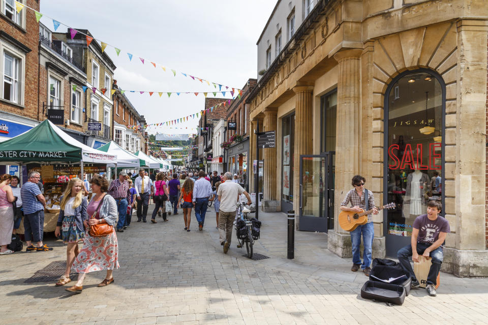 WINCHESTER, UK - July 27, 2012. Pedestrianised high street in Winchester, Hampshire, UK