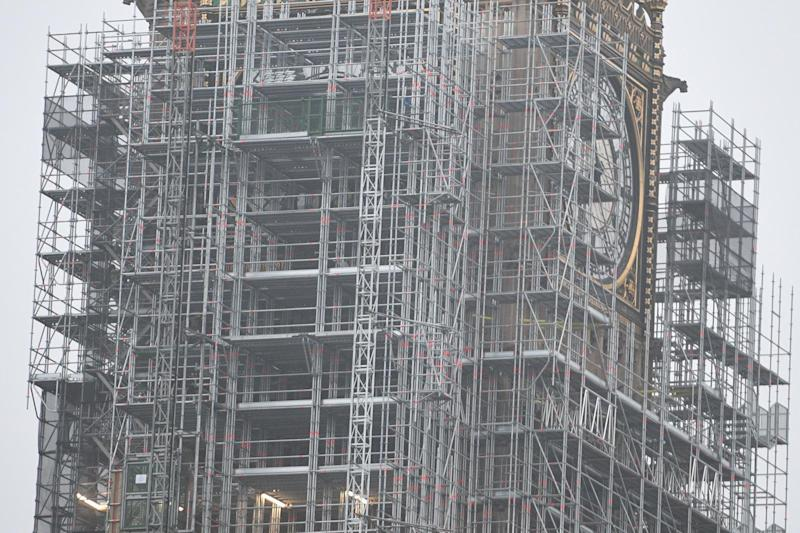 Big Ben's tower almost completely encased in scaffolding today: Jeremy Selwyn