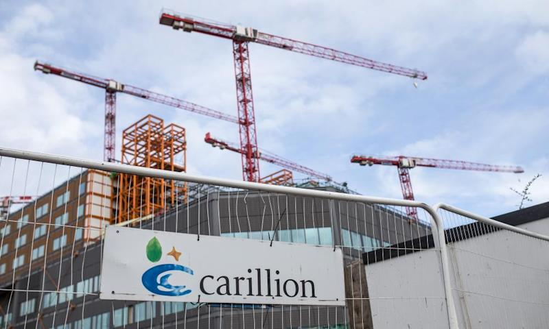 Cranes stands idle above the Midland Metropolitan Hospital construction site, operated by Carillion