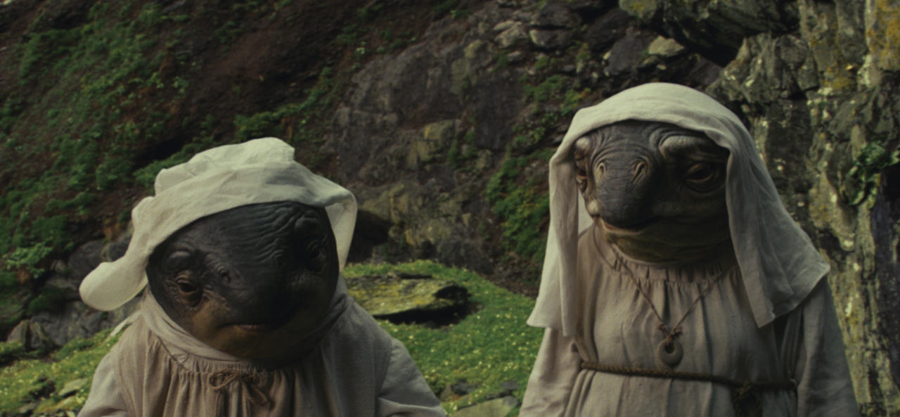 <p>These Ahch-To natives serve as the local maintenance crew, tending to the temple and frowning upon interlopers like Luke and Rey. (Photo: Lucasfilm) </p>