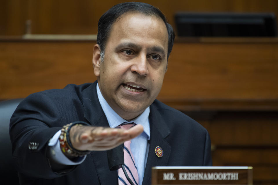 Rep. Raja Krishnamoorthi, D-Ill., questions Postmaster General Louis DeJoy during a House Oversight and Reform Committee hearing on the Postal Service on Capitol Hill, Monday, Aug. 24, 2020, in Washington. (Tom Williams/Pool via AP)