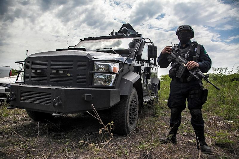 Mexican police participate in an operation to bust a clandestine lab for making synthetic drugs in Carrizalejo, in the state of Sinaloa, in July 2018 (AFP Photo/RASHIDE FRIAS)