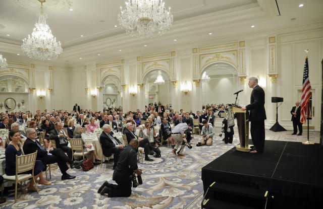 <p>Supreme Court Justice Neil Gorsuch speaks at the 50th anniversary of the Fund for America Studies luncheon at the Trump Hotel in Washington, Thursday, Sept. 28, 2017. (AP Photo/Pablo Martinez Monsivais) </p>