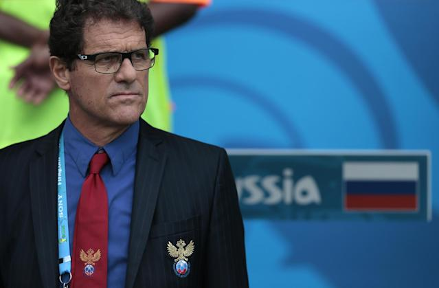 Russia's head coach Fabio Capello stands on the sideline before the group H World Cup soccer match between Belgium and Russia at the Maracana stadium in Rio de Janeiro, Brazil, Sunday, June 22, 2014. (AP Photo/Ivan Sekretarev)