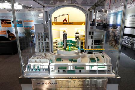 A cut-away model of the Chinese Gen-III nuclear power technology HPR1000 by China General Nuclear Power Corporation (CGN) is displayed at the World Nuclear Exhibition (WNE), the trade fair event for the global nuclear community in Villepinte