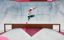 <p>TOKYO, JAPAN - JULY 31: Jordyn Barratt of Team USA pulles a boneless during training today at Ariake Skateboard Park ahead of the Tokyo Olympic Games on July 31, 2021 in Tokyo, Japan. (Photo by Adam Pretty/Getty Images)</p>