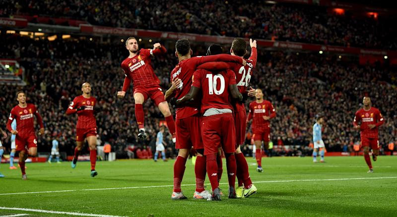 LIVERPOOL, ENGLAND - NOVEMBER 10: (THE SUN ON OUT, THE SUN ON SUNDAY OUT) Sadio Mane of Liverpool celebrates after scoring the opening goal during the Premier League match between Liverpool FC and Manchester City at Anfield on November 10, 2019 in Liverpool, United Kingdom. (Photo by Andrew Powell/Liverpool FC via Getty Images)