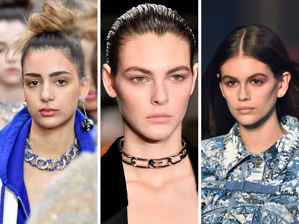 """Season after season, the """"no makeup"""" makeup look makes an appearance. For fall 2018, we saw it on the runways at Chanel, Alexander Wang and Off-White, among others.&nbsp;<br><br><i>(Left to right: Chanel, Alexander Wang, Off-White)</i>"""