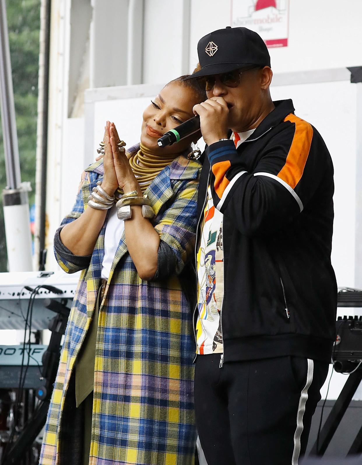 NEW YORK, NY - AUGUST 18: Janet Jackson and Daddy Yankee celebrate 'Made For Now' at the 44th annual Harlem Week on August 18, 2018 in New York City. (Photo by John Lamparski/WireImage)