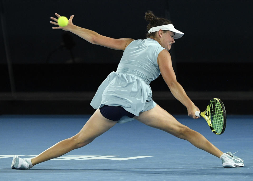 United States' Jennifer Brady hits a return to Japan's Naomi Osaka during the women's singles final at the Australian Open tennis championship in Melbourne, Australia, Saturday, Feb. 20, 2021.(AP Photo/Andy Brownbill)