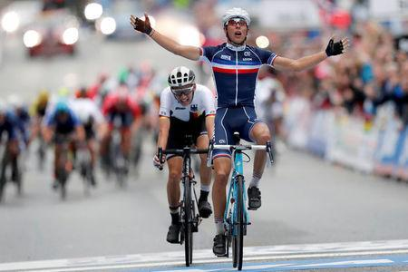 Benoit Cosnefroy (R) from France finishes firts and Lennard Kamna (L) from Germany second in UCI Cycling Road World Championships Men Under 23 in Bergen, Norway September 22, 2017. NTB Scanpix/Cornelius Poppe via REUTERS