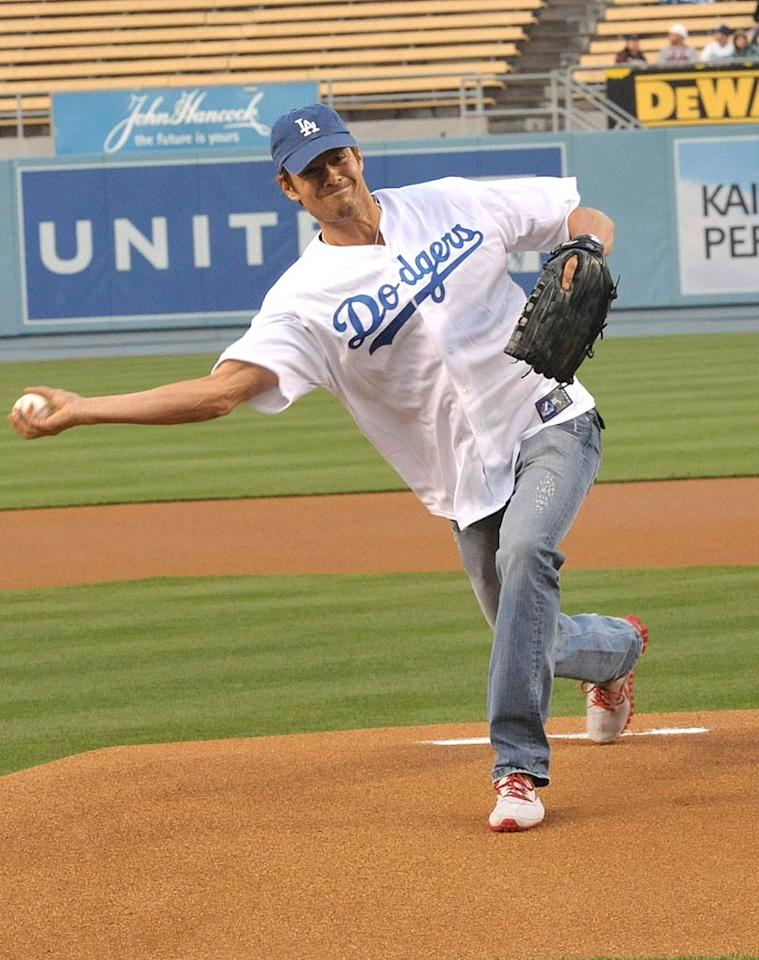 """Actor Josh Duhamel looked like he really gave it his all when he threw out the first pitch at Dodger Stadium on Wednesday. He apparently brought the team good luck (despite the fact Major League Baseball announced it was assuming control of the Dodgers earlier that day), because they went on to clobber the Atlanta Braves 6-1. Lester Cohen/<a href=""""http://www.wireimage.com"""" target=""""new"""">WireImage.com</a> - April 20, 2011"""