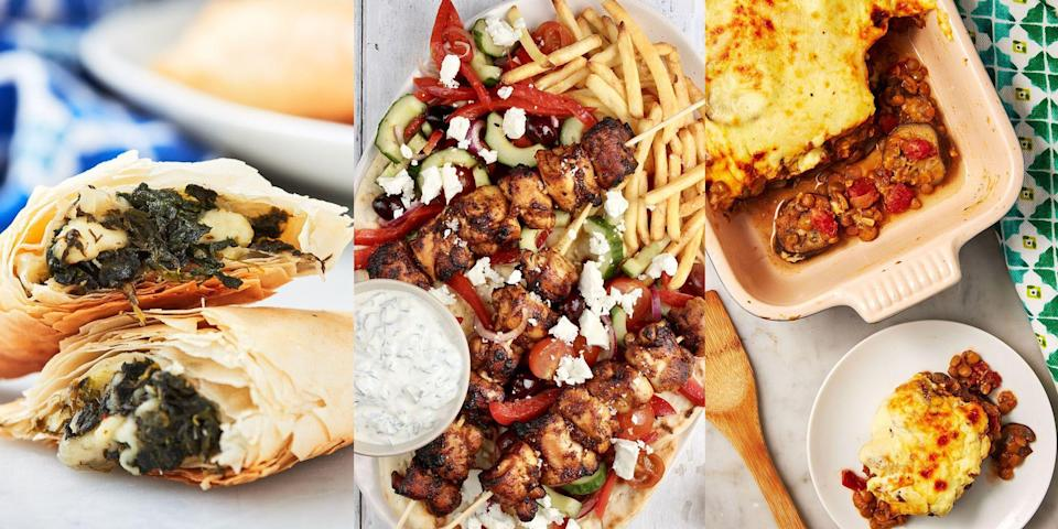 """<p><a href=""""https://www.delish.com/uk/cooking/recipes/a35901474/chicken-souvlaki/"""" rel=""""nofollow noopener"""" target=""""_blank"""" data-ylk=""""slk:Chicken Souvlaki Skewers"""" class=""""link rapid-noclick-resp"""">Chicken Souvlaki Skewers</a>, <a href=""""https://www.delish.com/uk/cooking/recipes/a35582256/greek-pasta-salad-recipe/"""" rel=""""nofollow noopener"""" target=""""_blank"""" data-ylk=""""slk:Greek Pasta Salad"""" class=""""link rapid-noclick-resp"""">Greek Pasta Salad</a>, <a href=""""https://www.delish.com/uk/cooking/recipes/a33989947/vegetarian-moussaka-recipe/"""" rel=""""nofollow noopener"""" target=""""_blank"""" data-ylk=""""slk:Vegetarian Moussaka"""" class=""""link rapid-noclick-resp"""">Vegetarian Moussaka</a>... what's not to love? There's nothing like a plate of Greek-inspired foods, especially if it's homemade. And luckily for you, we've got just the recipes. With everything from main meals, to <a href=""""https://www.delish.com/uk/cooking/recipes/a30960236/authentic-tzatziki-recipe/"""" rel=""""nofollow noopener"""" target=""""_blank"""" data-ylk=""""slk:dips"""" class=""""link rapid-noclick-resp"""">dips</a> and appetisers (these <a href=""""https://www.delish.com/uk/cooking/recipes/a28840207/greek-salad-skewers-recipe/"""" rel=""""nofollow noopener"""" target=""""_blank"""" data-ylk=""""slk:Greek Salad Skewers"""" class=""""link rapid-noclick-resp"""">Greek Salad Skewers</a> are delicious, just saying), there's lots of recipes for you to play around with. </p><p>So, if you've made plans to host girls night this weekend (or boys night, of course), then why not treat your family and friends to a feast of <a href=""""https://www.delish.com/uk/food-news/a30624859/greek-food/"""" rel=""""nofollow noopener"""" target=""""_blank"""" data-ylk=""""slk:Greek food"""" class=""""link rapid-noclick-resp"""">Greek food</a>, made by yours truly. Thank us later...<br></p>"""