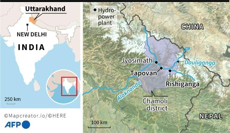 Map locating the two hydro-power plants buried by a torrent in India's Uttarakhand state