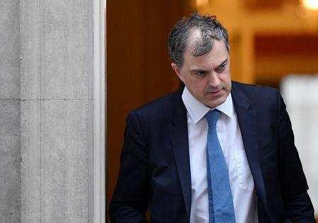 Britain's Conservative Party Chief Whip Julian Smith leaves Downing Street, after the British parliament rejected Prime Minister Theresa May's Brexit deal, in London, Britain, January 16, 2019. REUTERS/Toby Melville