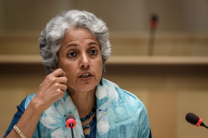 FILE PHOTO: World Health Organization (WHO) Chief Scientist Soumya Swaminathan attends a news conference in Geneva