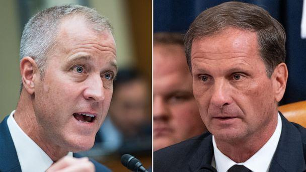 PHOTO: Rep. Sean Patrick Maloney speaks the House Intelligence Committee hearing.   Rep. Chris Stewart, holds up a copy of the transcript of a phone call between US President Donald Trump and Ukrainian President Volodymyr Zelensky. (Getty Images)