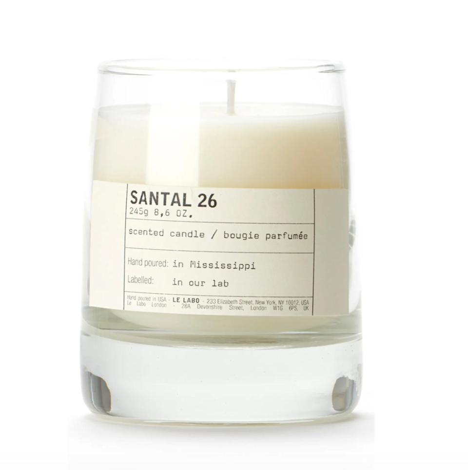 """<h2>Le Labo Santal 26 Candle <br></h2><br>Whether you can sniff out a signature Le Labo scent in a lineup of 20 different samples or are unfamiliar with this fragrance empire, we'd like to think this candle is a universal crowd-pleaser. For $78, you get a small-yet-mighty 100% soy wax candle with warm notes of Amber, cocoa, vanilla, cedar, spices, musk, sandalwood. Happy customers say, """"Earthy, woody, warm. Rooms immediately enveloped in transcendent scents. Enrapturing. the senses. Will be a regular burn.""""<br><br><em>Shop <a href=""""https://www.nordstrom.com/s/le-labo-santal-26-classic-candle/4344233"""" rel=""""nofollow noopener"""" target=""""_blank"""" data-ylk=""""slk:Nordstrom"""" class=""""link rapid-noclick-resp""""><strong>Nordstrom</strong></a></em><br><br><strong>Le Labo</strong> SANTAL 26, $, available at <a href=""""https://go.skimresources.com/?id=30283X879131&url=https%3A%2F%2Fwww.nordstrom.com%2Fs%2Fle-labo-santal-26-classic-candle%2F4344233"""" rel=""""nofollow noopener"""" target=""""_blank"""" data-ylk=""""slk:Nordstrom"""" class=""""link rapid-noclick-resp"""">Nordstrom</a>"""